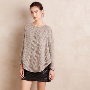 Anthropologie Curved Cable Knit Poncho Sweater XS